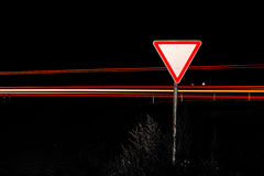 Road sign give way Royalty Free Stock Images