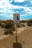 Road sign Give way to penguins. Punta Tombo, Argentina, South America Royalty Free Stock Photography