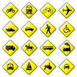Road Sign Glossy Vector (Set 4 of 8) Stock Photography