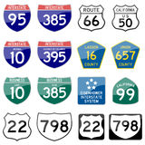 Road Sign Glossy Vector (Set 8 of 8) Royalty Free Stock Images