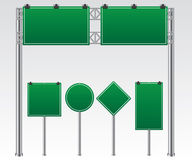 Road sign green illustration Stock Photos