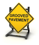 Road sign - grooved pavement Stock Photo