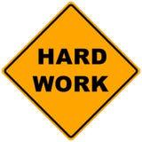 Road Sign Hard Work. Orange road sign hard work -illustration Stock Images