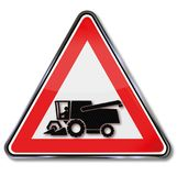 Road sign harvester. In this area Royalty Free Stock Photography