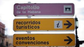 Road sign in Havana. Road sign board in Havana stock video footage