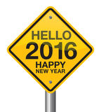 2016 Road Sign. Hello 2016 Happy New Year road sign Stock Photos