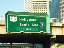 Road sign: Hollywood and Santa Ana-3- 07-09-34 Stock Image