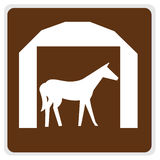 Road sign - horse and barn Royalty Free Stock Images