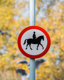 Road sign with horse Royalty Free Stock Images