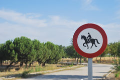 Road sign with horse and rider Stock Image