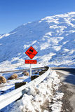 Road sign ice  and grit Stock Photography