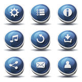 Road Sign Icons And Buttons For Ui Game. Illustration of a set of cartoon comic blue road signs ui game icons and buttons elements, with main user interface app stock illustration