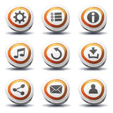 Road Sign Icons And Buttons For Ui Game. Illustration of a set of cartoon comic road signs ui game icons and buttons elements, with main user interface app royalty free illustration