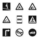 Road sign icons set, simple style Stock Photo
