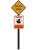 Road Sign Illustrated. A road sign of Dead End and a Neighborhood Watch. It states: our neighbors are watching to report suspicious activity to our law royalty free illustration