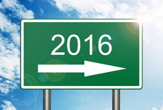 Into 2016 Road Sign. Image to use in an optimistic view on year 2016. Can be also used for review of the year 2016 Stock Image