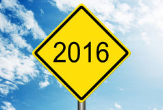 Into 2016 Road Sign Stock Image
