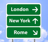 Road sign imaginary. Illustration of a road sign with imaginary destination, London, New York and Rome, on a sky background (additional format eps vector illustration