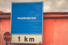 Road sign indicating the border of a Africa country: Morocco Royalty Free Stock Photos