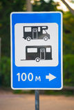 Road sign indicating camping place Stock Images
