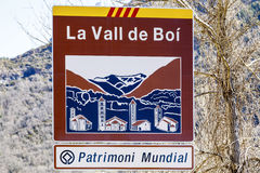 Road sign indicating the entrance to the Vall de Boi, Declared Heritage of humility. In 2000 to its 9 Romanesque churches Royalty Free Stock Photography