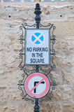 Road sign indicating the prohibited parking Stock Photo
