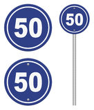 Road sign indicating a speed limit. On white bakground Royalty Free Stock Photography