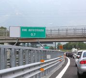 Road sign indicating with text FINE AUTOSTRADA which means the e Stock Image