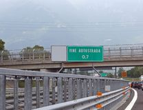 Road sign with text FINE AUTOSTRADA which means the end of the r Royalty Free Stock Image