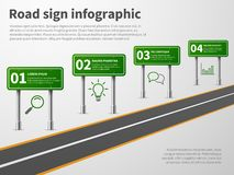Road sign infographic. Banner traffic street route path, blank direction highways asphalt trip map gps car curved way royalty free illustration