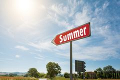 Road sign with the inscription Summer Stock Image
