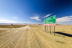 Road sign at the intersection between the C37 and D31 roads between the towns Noordoewer, Ai-Ais Fish River Canyon and Aussenkehr. Gravel roads, mountains and Stock Photos
