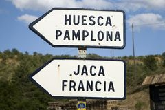 Road sign for Jaca, Huesca, Spain and Francia in the Pyrenees Mountains Royalty Free Stock Image