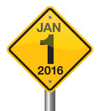 2016 Road Sign. Jan 1 2016 road sign vector design royalty free illustration