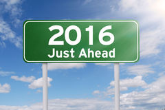 Road sign of 2016 just ahead Stock Images