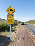 Road sign with a kangaroo, Australia Stock Image