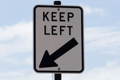 Road Sign, keep left. Australian road sign,  Keep left Royalty Free Stock Images