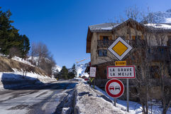 Road sign in La Grave Royalty Free Stock Photos