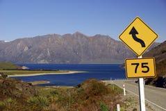 Road Sign - Lake Hawea Stock Photo