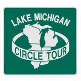 Road sign - Lake Michigan circle tour Royalty Free Stock Images