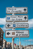 Road sign of landmarks in Marseille Royalty Free Stock Image