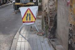 Road sign lane narrowing Stock Photography