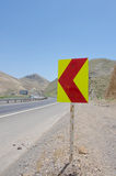 Road sign. A lefthand curve sign Royalty Free Stock Photos