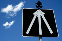 Road sign leprechaun. Close view of an road sign leprechaun ahead Stock Image