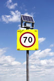 Road sign with lighting and solar powered Royalty Free Stock Photography
