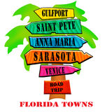 Road Sign Local Towns. West Coast Florida Towns Road Sign Design would be great for travelers to Florida or residents of Florida. Great for t-shirts, signs Stock Image