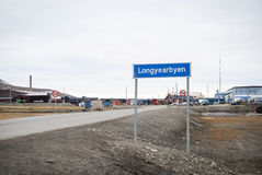 Road sign of Longyearbyen city, Svalbard Royalty Free Stock Image