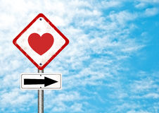Road sign with love Royalty Free Stock Photography