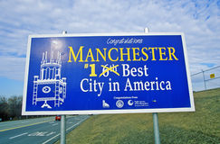 Road sign in Manchester, NH, Best City in America Stock Photos
