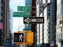 Road sign Manhattan New York City. Road sign in Manhattan New York City Royalty Free Stock Photos